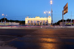Main entrance of Gorky Park in Moscow, Russia Night view. Stock Image