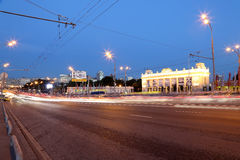Main entrance of Gorky Park in Moscow, Russia Night view. Royalty Free Stock Images
