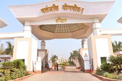 Main entrance of Headquarter building of Baba Ramdev`s Patanjali Ayurved Limited stock photo