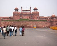 Main entrance with Indian people at the Red Fort Stock Image