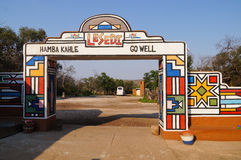 Main entrance of Lesedi Cultural Village  in South Africa. Stock Photos