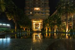 Main entrance of Long Beach Garden Hotel and Spa at nigh Royalty Free Stock Photography