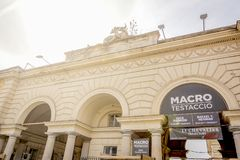 Main entrance of the MACRO museum, Museum of Contemporary Art in Rome, built inside an old slaughterhouse. Rome, Italy, March 2017: main entrance of the MACRO royalty free stock photos