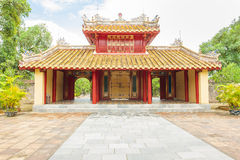 Main entrance of Minh mang grave in the Imperial City of Hue stock images