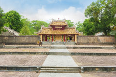 Main entrance of Minh mang grave in the Imperial City of Hue royalty free stock photo