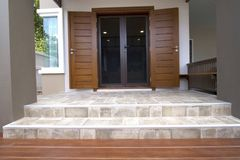 New modern house exterior. Main entrance of modern house exterior stock image