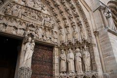 Main Entrance of Notre Dame de Paris - Portal of the Last Judgment Stock Images