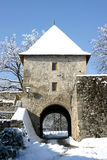Main entrance in old. Kastel castle in Banja Luka, Republika Srpska, Bosnia, winter landscape Royalty Free Stock Photography