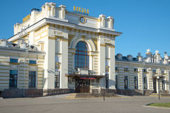 The main entrance of the old building of the railway station of the city Rybinsk closeup. Russia Stock Photography