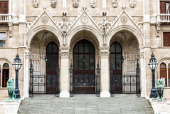 Main entrance of Orszaghaz, Hungary Parliament stock images