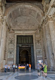 The main entrance of the Pantheon in Rome, Italy. Stock Image