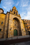 Main entrance side view of Saint Vicente church in Bilbao Stock Image
