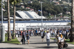 The main entrance at the Sochi autodrom from the train station. Sochi, Russia -12 November 2014 : Formula One, Russian Grand Prix, Sochi autodrom , 16 stage Royalty Free Stock Photography