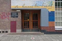 Main entrance of the 6th Montessori School in Amsterdam. Royalty Free Stock Image