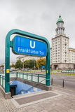Main entrance to Berlin metro station Frankfurter Tor. BERLIN - GERMANY - SEPTEMBER 30 :One of the four main entrances to Berlin metro station Frankfurter Tor royalty free stock photography