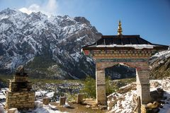 Main entrance to the Buddhist temple on Annapurna circuit, Nepal stock images