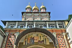 The Main entrance to the Cathedral of the Holy Trinity St. Sergius Lavra. royalty free stock image