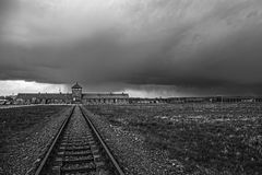 Main entrance to the concentration camp. Barbed wire around a concentration camp. Museum Auschwitz - Birkenau. Holocaust Memorial Museum. Main entrance to the Royalty Free Stock Photo