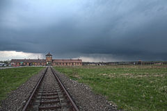 Main entrance to the concentration camp. Barbed wire around a concentration camp. Museum Auschwitz - Birkenau. Holocaust Memorial Museum. Main entrance to the Royalty Free Stock Photography