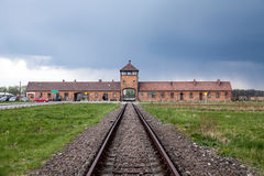 Main entrance to the concentration camp. Barbed wire around a concentration camp. Museum Auschwitz - Birkenau. Holocaust Memorial Museum. Main entrance to the Stock Images