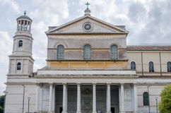 The main entrance to the dome, arches and bell tower in the catholic church cathedral basilica of Saint Paul in Rome, Italy Royalty Free Stock Photo