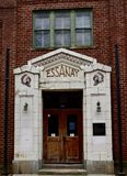 Main Entrance to Essanay Studios. This is a Winter picture of the main entrance to the iconic Essanay Studios located on the Northside of Chicago, Illinois in royalty free stock images