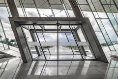 Main Entrance to the Etihad Museum, Sliding Glass Doors, Modern. Union Museum, Etihad, Dubai, United Arab Emirate - Jan.4, 2018: Main Entrance to the Etihad royalty free stock image