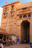 Main entrance to Jaisalmer fort and tourist shops, Rajasthan, In Royalty Free Stock Photos