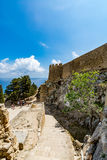 Main entrance to Lindos castle, Rhodes island, Greece Royalty Free Stock Images