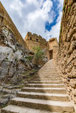 Main entrance to Lindos castle, Rhodes island, Greece Royalty Free Stock Photo