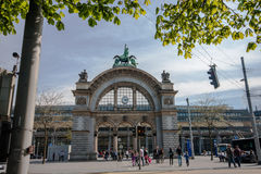 Main entrance to Luzern railway station in Lucerne Royalty Free Stock Photography