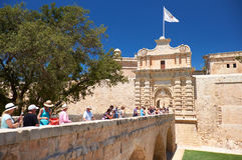 The main entrance to Mdina, the Main Gate and the Mdina Gate Bri Stock Photos