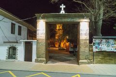 The main entrance to the monastery of St. George on Easter night in the Bulgarian Pomorie Stock Photos