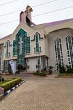 Main entrance to the new Auditorium of Deeper Life Bible Church Gbagada Lagos Nigeria. This auditorium seats about 30,000 people stock image