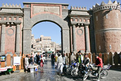 The main entrance to old Sanaa (Yemen). December 21, 2008 - Sanaa (Yemen), everyday life in the old town Stock Photo