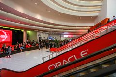 Main entrance to  Oracle OpenWorld conference in Moscone convention center Stock Image