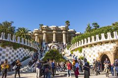 Main entrance to Park Guell. It was built built from 1900 to 1914 by Antoni Gaudi stock image