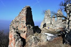 Main entrance to ruins of castle Gymes, Slovakia, remains of tower castle on the left side Royalty Free Stock Image