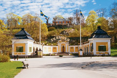 The main entrance to Skansen. The open air museum in Stockholm Stock Photo