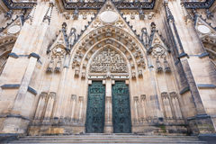 Main entrance to the St. Vitus cathedral in Prague Castle Royalty Free Stock Photos