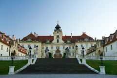 Main entrance to Valtice castle. Facade Valtice castle, Baroque residences in Czech Republic Royalty Free Stock Images