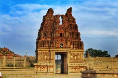 Main entrance of Vitara Temple at Hampi , Karnataka , India stock photos