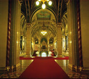 Main entrances. Red carpet on main entrances in Hungarian Parliament Royalty Free Stock Images