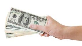 Main et argent Image libre de droits