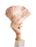 Main et argent de fixation de bras photos stock
