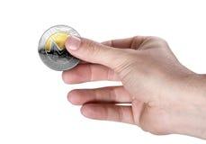 Main et Bitcoin Image libre de droits