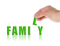 Main et famille de mot Images libres de droits
