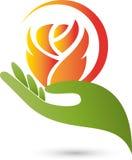 Main et fleur, rose, logo rose et de cadeaux illustration libre de droits