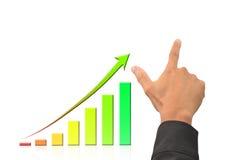 Main et graphique croissant de bussiness Images stock
