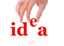 Main et idée de mot Images libres de droits